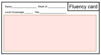 Fluency tracking card