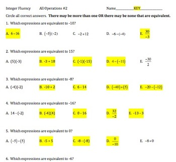 7.NS.1 and 7.NS.2, Fluency with Integers