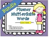 Fluency with Multi-Syllabic Words:Level 4 BUNDLE: Roll 'n Read Game & Flashcards