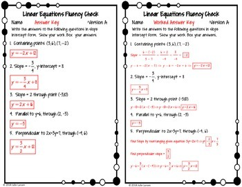 Linear Functions Fluency Check 4 More Versions:  No Prep Fluent in Math Series
