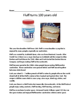 Fluff - Turns 100 years old - facts information lesson Fluffernutter sandwich