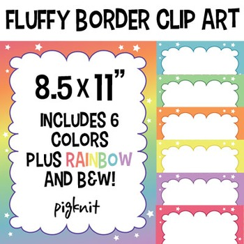 Fluffy Border Clip Art | Stars and Rainbow Frame | 7 Colors Plus B&W!