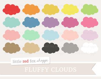 Fluffy Cloud Clipart; Weather, Nursery, Storm