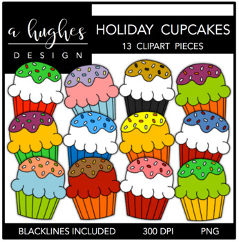 Fluffy Cupcakes Holiday {Graphics for Commercial Use}