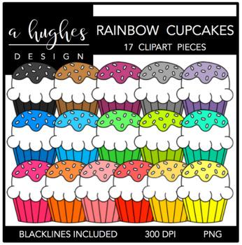Rainbow Cupcakes Clipart {A Hughes Design}