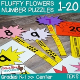 Fluffy Flowers 1-20 Number Puzzles Math Center (Kindergart