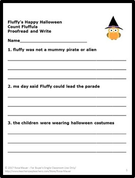 Fluffy's Happy Halloween Literacy Book Unit