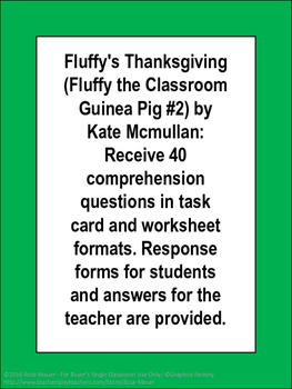 Fluffy's Thanksgiving Book Unit