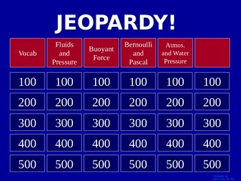 Fluids - Jeopardy Review Game
