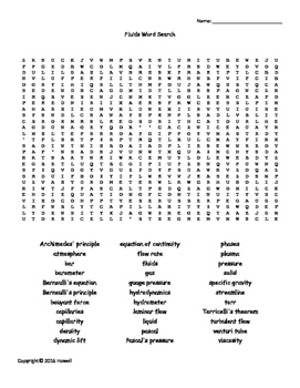 Fluids Vocabulary Word Search for Physics or Physical Science