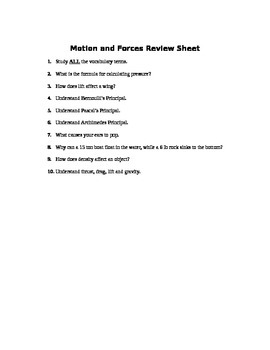 Fluids and Motion Assessment (Quiz)