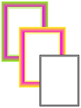 Fluro Frames & Borders Clip Art for Personal and Commercial Use!