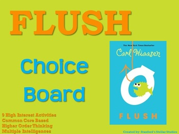 Flush Choice Board Novel Study Activities Menu Book Project Rubric Tic Tac Toe