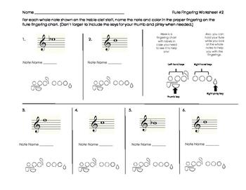 Flute Fingering Worksheet 2 for Band Beginners
