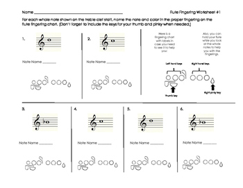 Flute Fingering Worksheet for Band Beginners