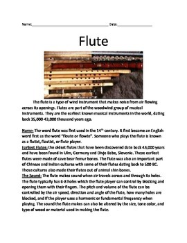 Flute - Musical Instrument - Information Facts History Questions Vocabulary