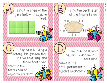 Spring Area and Perimeter Task Cards {FREE}