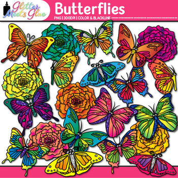 Butterfly & Flower Clip Art {Great for Spring Activities &