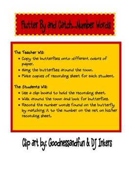 Flutter By and Catch Number Words - Math Center - Reading Number Words