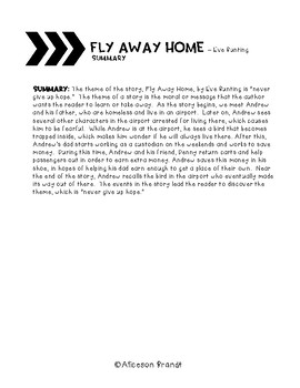 Fly Away Home Theme and Elements of a Story Lesson