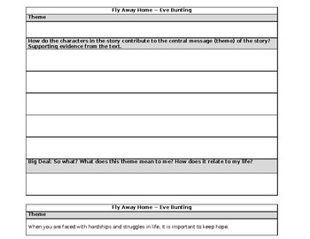 Fly Away Home by Eve Bunting Theme Graphic Organizer