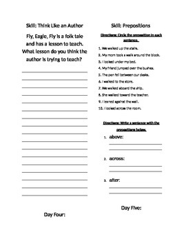 Fly Eagle Fly Seatwork/ Center Packet