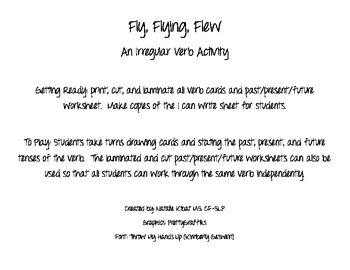 Fly, Flying, Flew: An Irregular Verb Activity