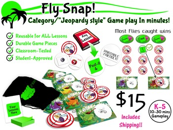 """Fly Snap!  """"Jeopardy Style"""" Card Game, Reusable for ALL Subjects"""