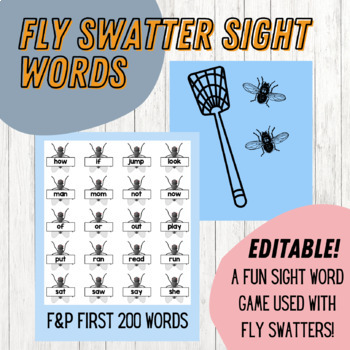 Fly Swatter Sight Word Game (EDITABLE)