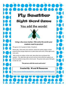 Fly Swatter Word Game - YOU add the words!