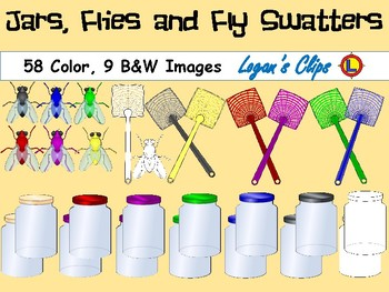 Fly Swatters, Jars and Flies- Clip Art