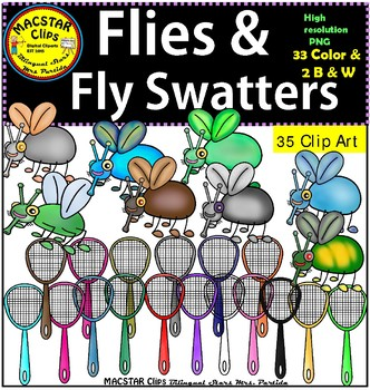 Flies and Fly Swatters Clip Art Personal and Commercial Use
