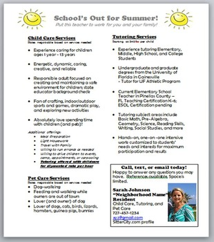 Summer Flyer - tutoring, child care, pet care - Make Extra