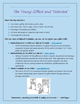 Flyer for Parents for Gifted and Talented Students