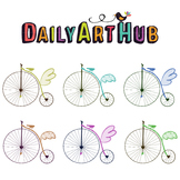 Flying Bikes Clip Art - Great for Art Class Projects!