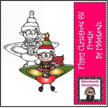 Flying Christmas Elf clip art - Freebie- by Melonheadz