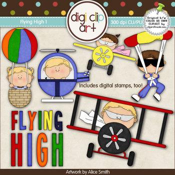 Flying High 1-  Digi Clip Art/Digital Stamps - CU Clip Art