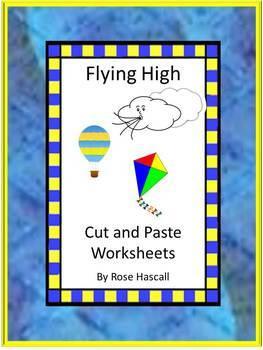 Spring Kites Cut and Paste NO PREP Math & Literacy Printab