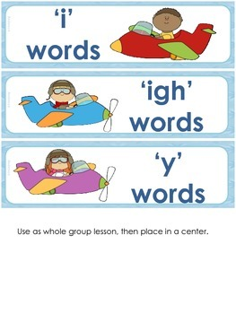 Flying High - Word Sort with long 'i' (i, igh, y)