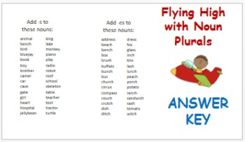 Noun Plurals, Sorting Mat Activity for Nouns Ending in -s and -es!