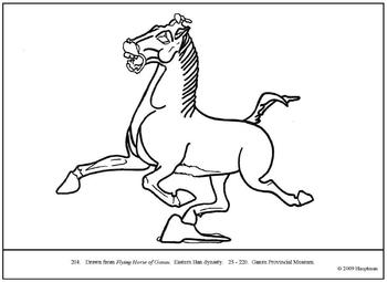 Flying Horse of Gansu.  Coloring page and lesson plan ideas