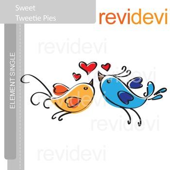 Flying Love Birds clip art / Sweet Tweetie Pies E003