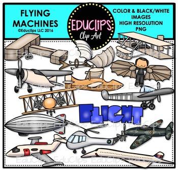 Flying Machines Clip Art Bundle {Educlips Clipart}