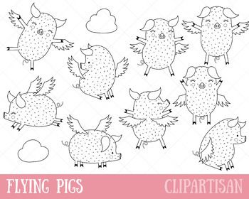 Flying Pigs Clip Art