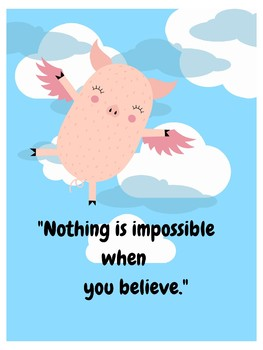 Flying Pigs (When Pigs Fly) Growth Mindset POSTER Classroom Impossible