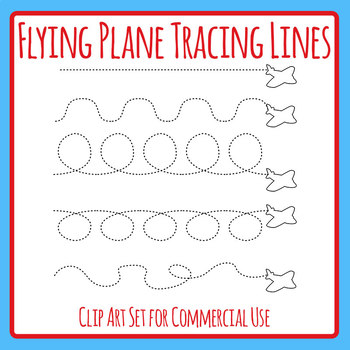 Flying Plane / Transport Themed Dashed or Dotted Tracing Lines for Pen Control