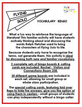Flying Solo Vocabulary Bingo