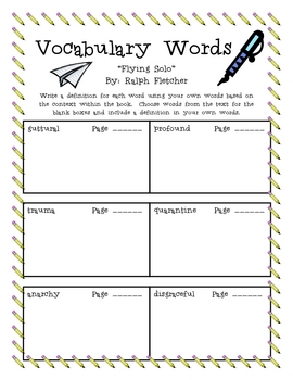 """""""Flying Solo"""", by R. Fletcher, Vocabulary Words Packet"""