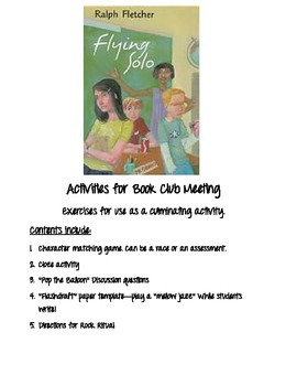 Flying Solo by Ralph Fletcher... Book Club activities