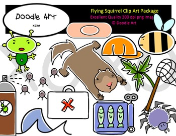 Flying Squirrel Clipart Pack